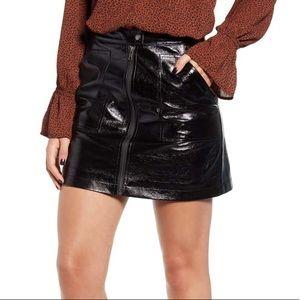 MinkPink Coyote Faux Leather Black Mini Skirt